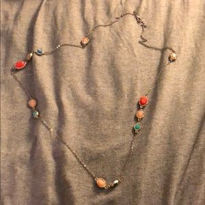 Jewelry - Multi colored stone station long dainty necklace